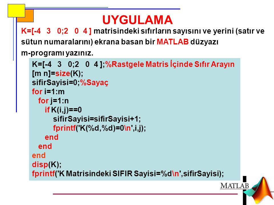UYGULAMA K=[-4 3 0;2 0 4 ] matrisindeki sıfırların sayısını ve yerini (satır ve sütun numaralarını) ekrana basan bir MATLAB düzyazı.